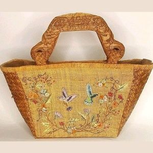 Cappelli Embroidered Straw Handbag Wood Handles